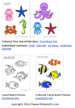 sea creatures free printables