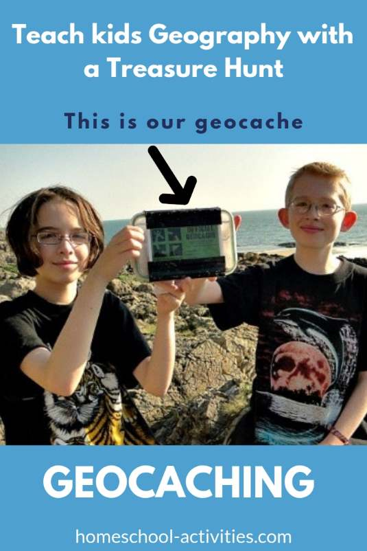 Geocaching geography scavenger hunt