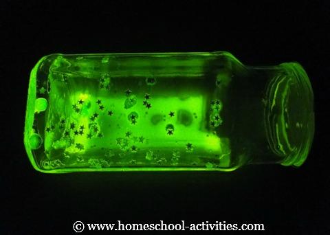 Glow sticks used to light up a mason jar