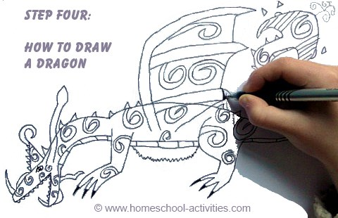 how to draw a dragon step four