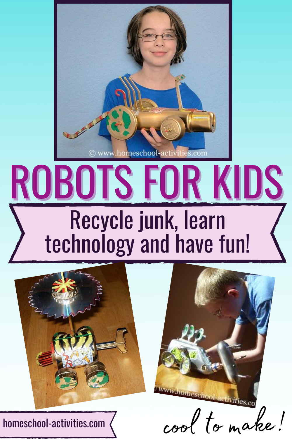 Recycled crafts making robots from junk