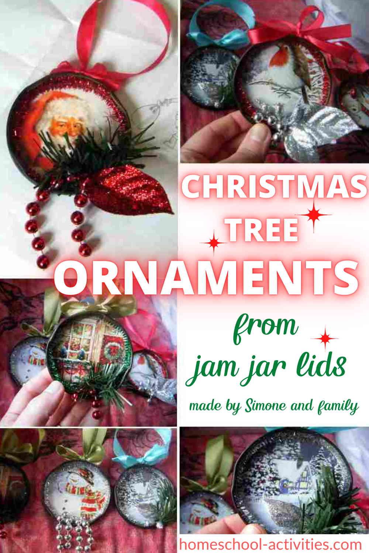 Christmas tree decorations handmade from jar lids