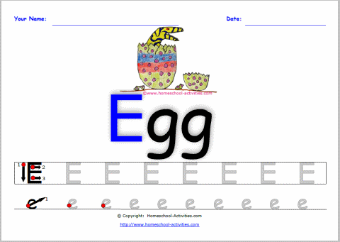alphabet worksheets letter E