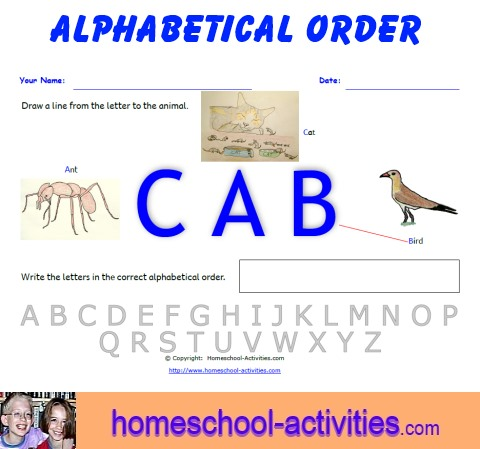 Alphabetical Order Worksheets on Homeschool Free Printable Curriculum