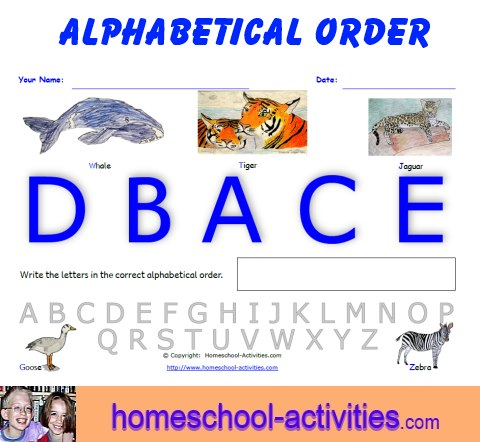 alphabetical order worksheets