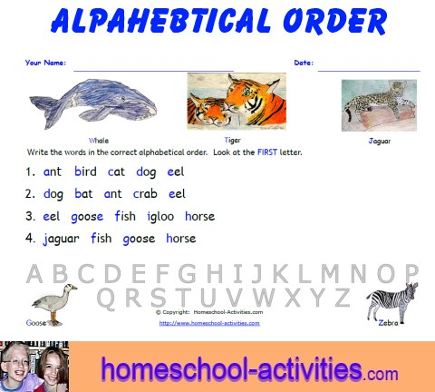 Free Alphabetical Order Worksheets: Printable Homeschooling Fun
