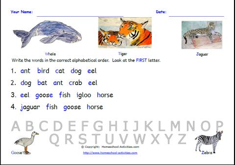 Free Worksheets » Free Printable Alphabetical Order Worksheets ...