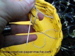 attaching the Easter basket handle