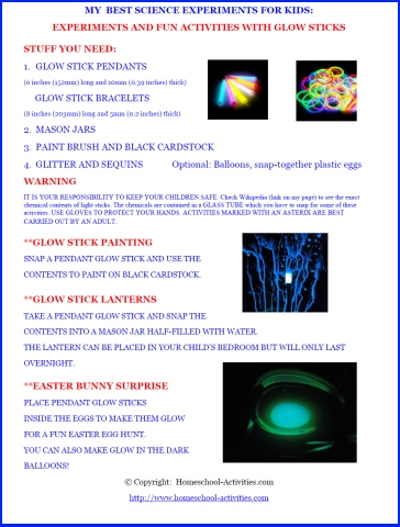 cool science experiments for kids with glow sticks. Black Bedroom Furniture Sets. Home Design Ideas