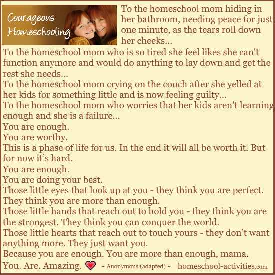 Courageous Homeschooling you are enough
