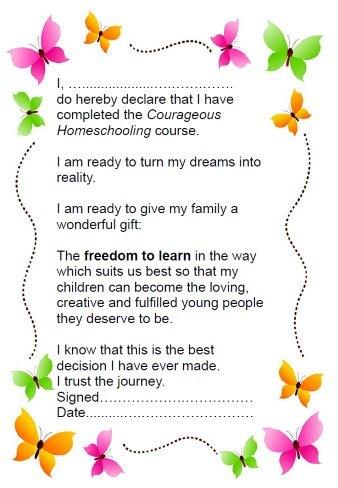 Courageous Homeschooling certificate