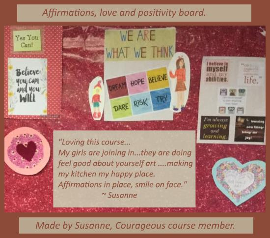 Affirmations, love and positivity board