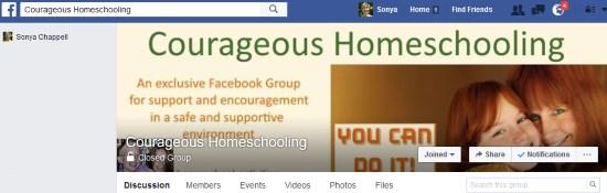 Courageous Homeschooling Facebook Group
