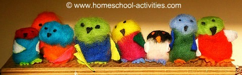 neede felted birds