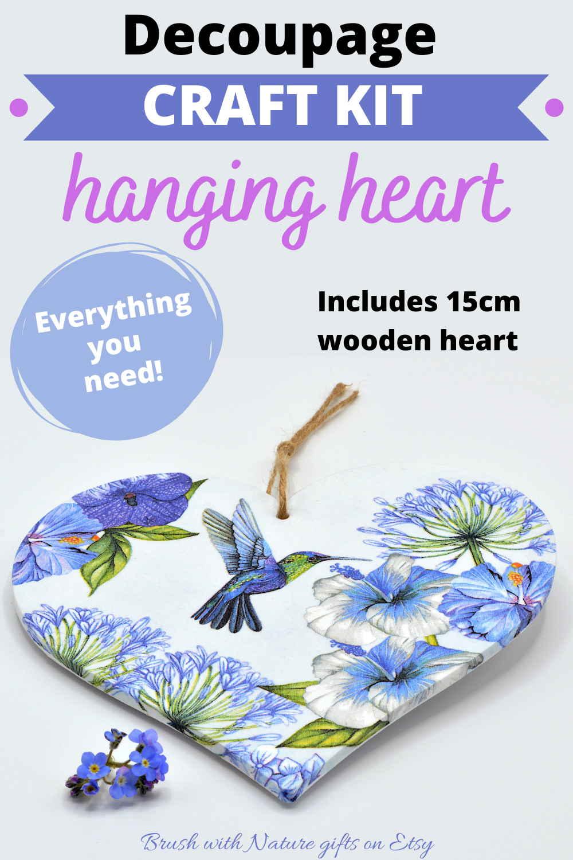Decoupage beginners kit wooden heart