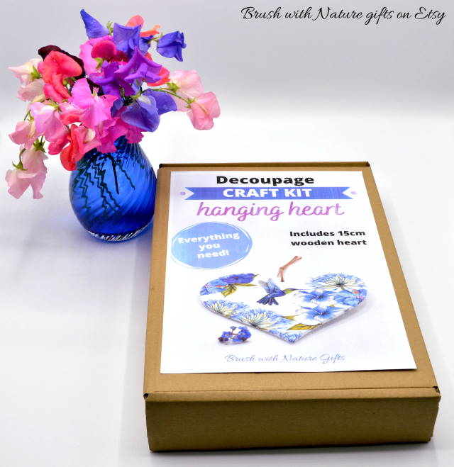 Decoupage starter set showing how to make a wooden heart