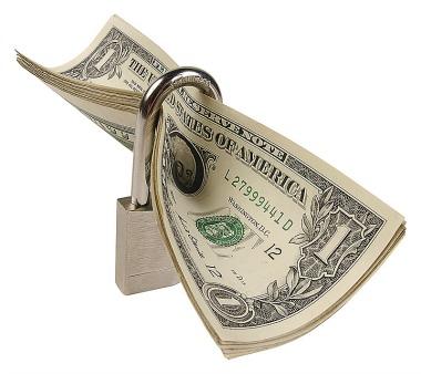 dollars with padlock