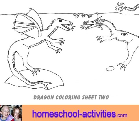 dragon coloring page two