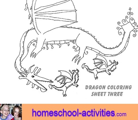 free dragon coloring page three