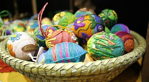 woven eggs in Easter basket