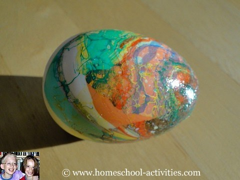 Decorated marbled egg