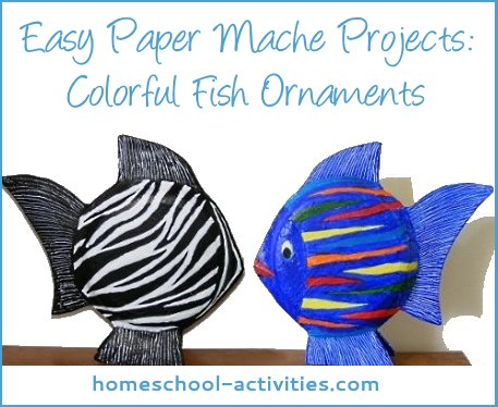 Fantastic fish paper mache ornaments