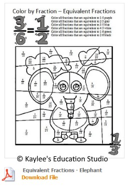 fraction coloring sheet