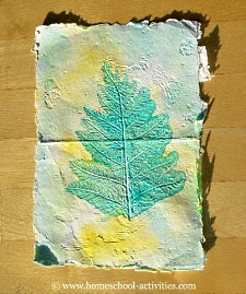 homemade paper leaf