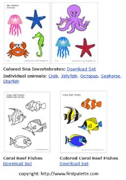 sea creatures free printables