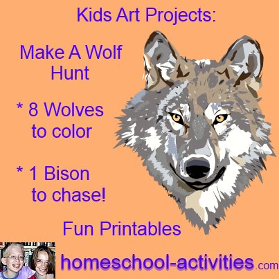 make a wolf hunt with free coloring sheets