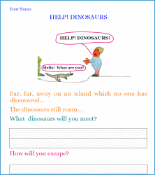 help dinosaurs! writing worksheet