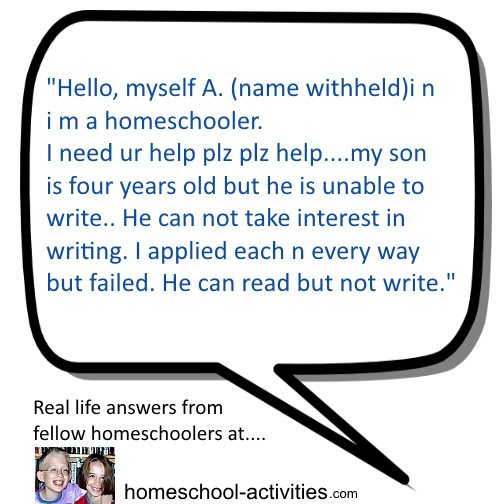 writing problems question from homeschool Mom