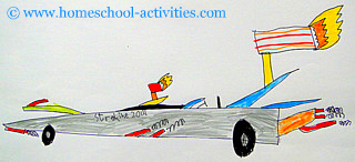 Drawing of a rocket car