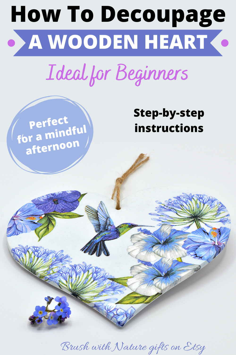 How to decoupage a wooden heart with step-by-step instructions
