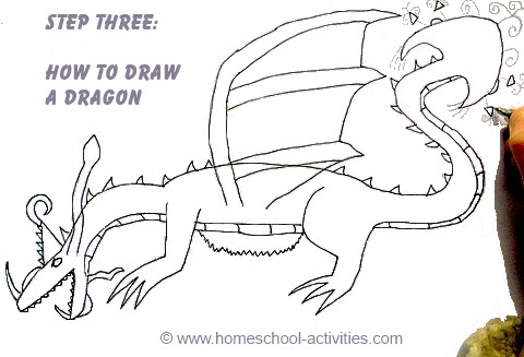 how to draw a dragon step three