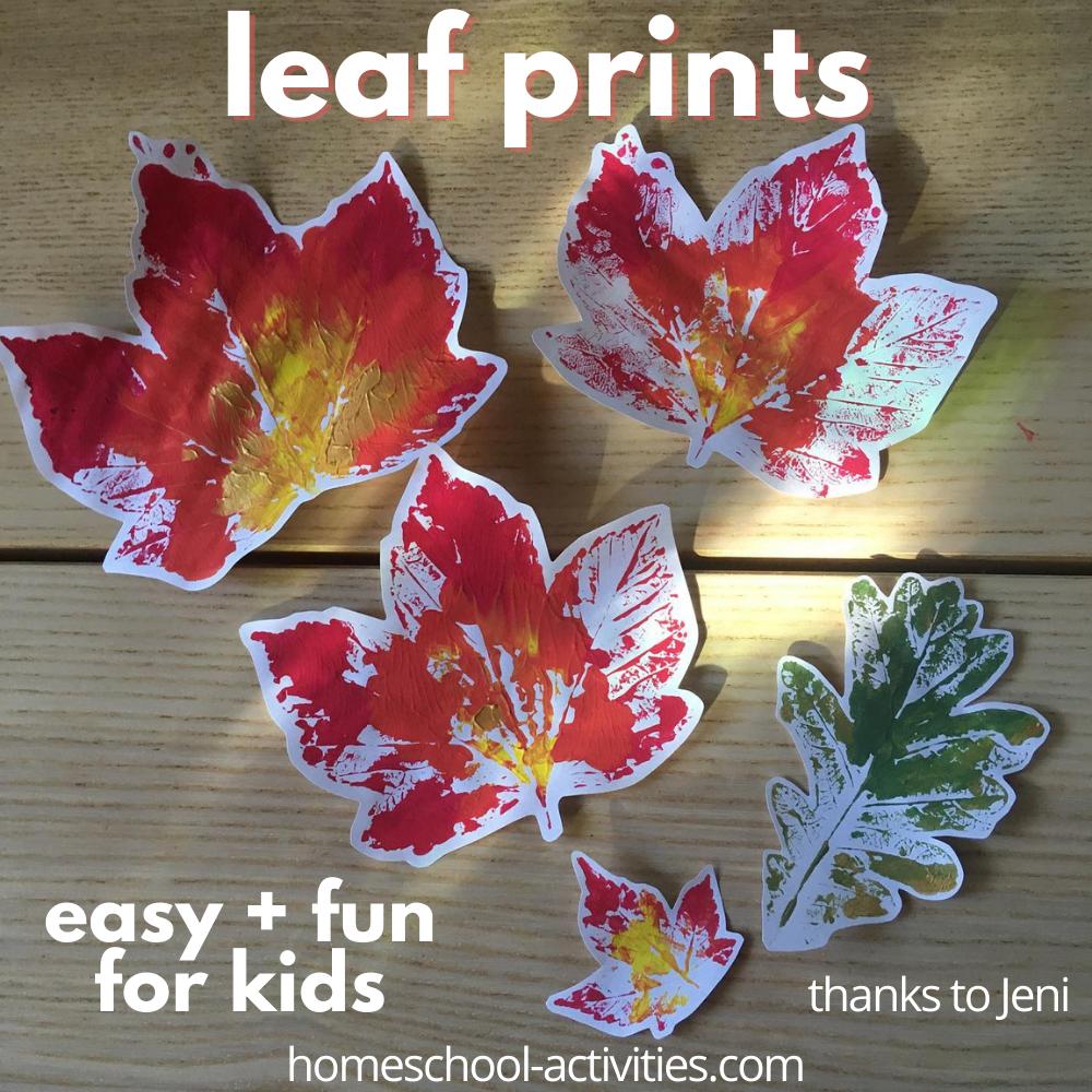 Leaf printing for kids