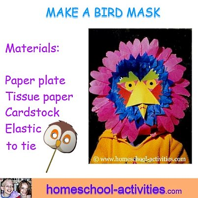 make a paper plate bird mask