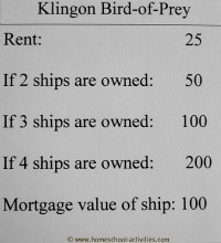 Star Trek Monopoly property values