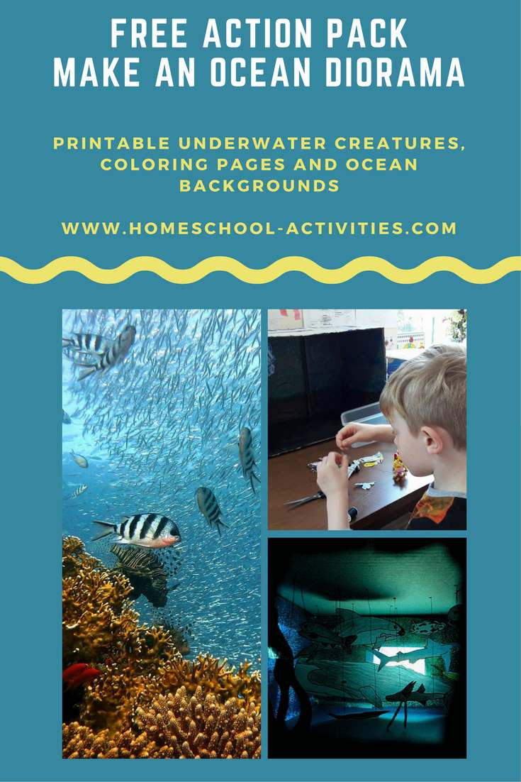free ocean diorama action pack  kids coloring pages and underwater scenes