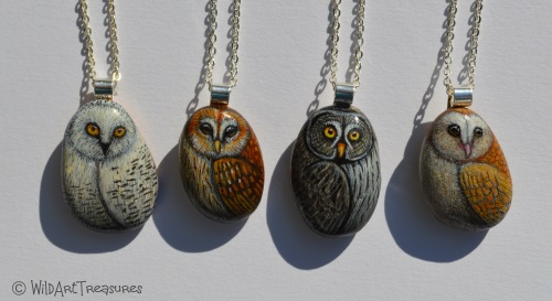 Owl pebble necklaces