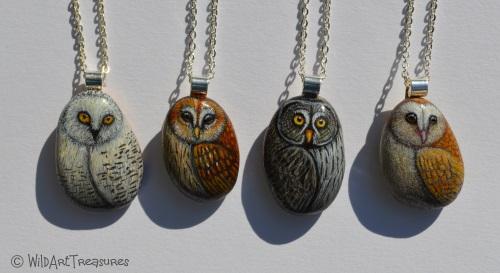 Owl pebble necklaces
