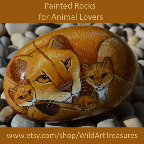 hand painted rocks lions