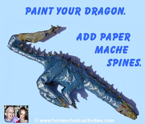 painting paper mache dragon