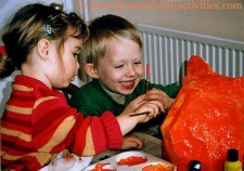 Catherine and William doing paper mache