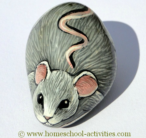pebble painted as a mouse