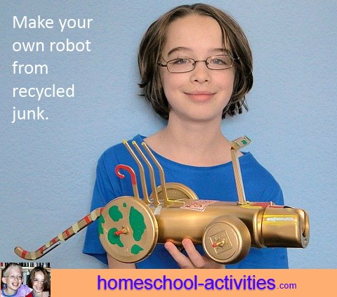 make a robot from recycled crafts