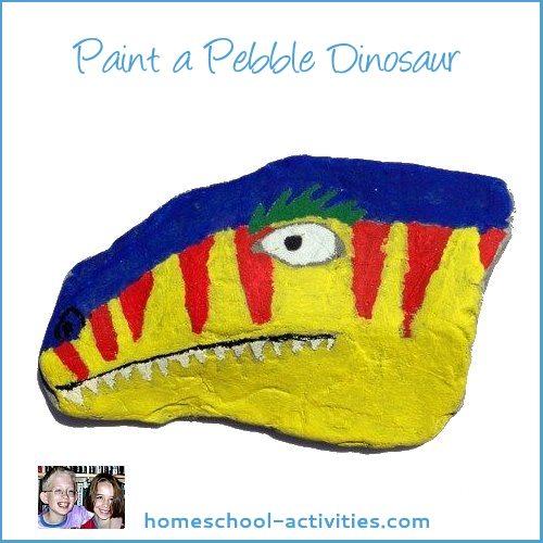 pebble painting dinosaur