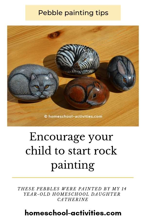 Rock painting animal pebbles