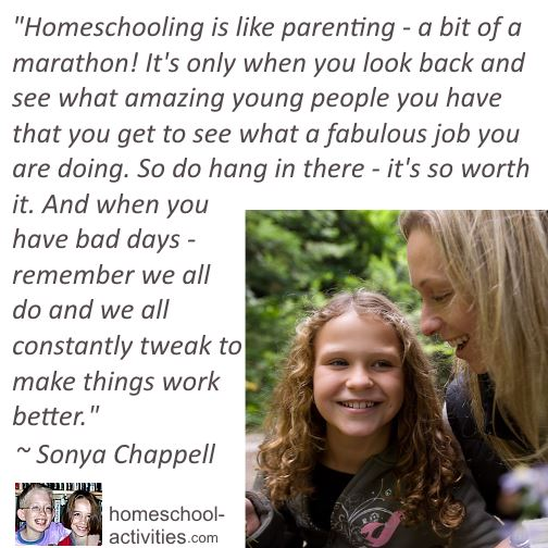 Quote from Sonya Chappell on the benefits of homeschooling