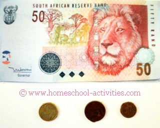 South African coins and 50 rand note